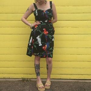 Vintage Retro Parrot Floral Wrap Front Black Dress